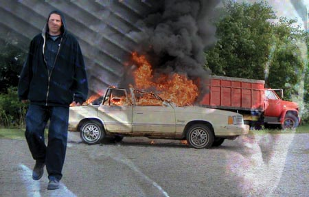 Jeremy Roach and Robert Z'Dar star in DRAWING BLOOD. (Tripod Films LLC)