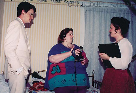 Eleanore Stasheff (center) directs Russell Martin and Brittany Ann Whalen on the set of THE GIFT BEARER *