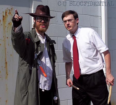 Dave Ruthenberg stars as the streetwise superhero, THE TRANSIENT, joined by his social worker sidekick Steve (Blake Stubbs) in the fight against evildoers everywhere ... and then some. (Photo by JaPan)